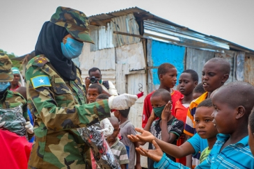 The UN Development Programme is running a COVID-19 awareness campaign with the Somali National Army in the capital Mogadishu