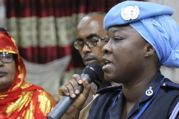 UN Police advisor, speaks during the Women Peace Forum held in Kismaayo, Somalia on 25 July 2018. The forum was organised by the Somali National Women Association (SNWA) and supported by the United Nations Assistance Mission Ethiopia. Credits: Phylis Osei