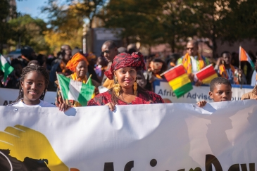 Africans march on New York streets during the African Day Parade. Photo: Alamy /Richard Levine