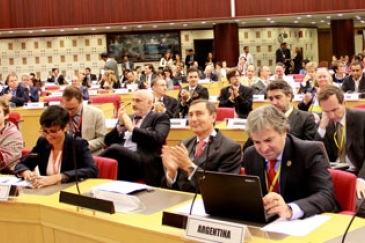 Delegates applaud the adoption of the Addis Ababa Action Agenda at the Third Financing for Development Conference which concluded on 16 July