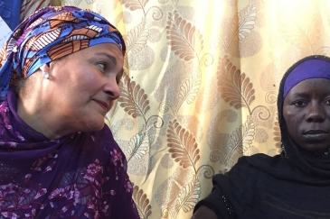 In Bol, Chad, the Deputy Secretary-General, Amina Mohammed (l) meets Halima Yakoy Adam who survived a Boko Haram suicide bombing mission.
