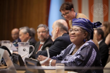 Ngozi Okonjo-Iweala (right) at the UN High-Level Meeting on Universal Health Coverage (UHC).