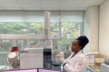 Sylvia Wairimu Maina, a PhD scholar at Sokoine University, Tanzania, conducting research