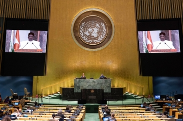 President Mahamadou Issoufou (on screen) of Niger addresses the general debate of the General ...