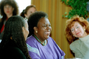 Gertrude Mongella (centre), Secretary-General of the Fourth World Conference on Women, at a media...