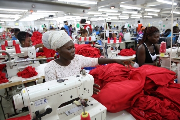 Dignity factory workers producing garments for overseas clients, in Accra, Ghana.