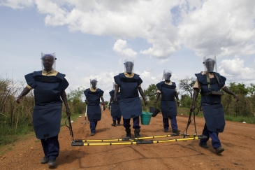 In Torit, South Sudan, the UN Mine Action Service (UNMAS) carries out mechanical and manual demining exercises.          UN Photo/Martine Perret