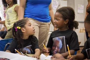 Children of ProjectArt, a Harlem, New York summer arts camp, create Nelson Mandela inspired art and messages for peace