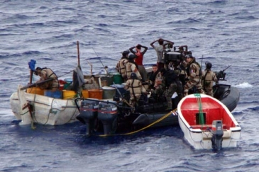 Suspected Somali pirates are apprehended by a patrol of the EUNAVFOR
