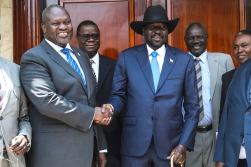 South Sudan's President Salva Kiir (centre) and opposition leader Dr. Riek Machar met on 11 September 2019 in Juba. This was their second face-to-face meeting. UN Photo/Isaac Billy