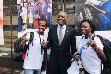 Mabingue Ngom (middle) with youths at a forum in Dakar, Senegal
