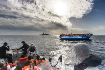 Migrants from Africa and elsewhere rescued from a smuggler's boat by an Italian naval ship in the Mediterranean. Photo credit: UNHCR/A. D'Amato