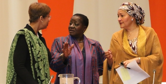 United Nations Deputy Secretary-General Ms. Amina Mohammed (right), the UN Under-Secretary-General and Special Adviser on Africa Ms. Bience Gawanas (middle) and Ms. Inga R. King, the 74th President of the United Nations Economic and Social Council (left)