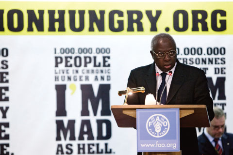 Jacques Diouf, then director-general of the UN's Food and Agriculture Organization, addressing a World Food Day ceremony