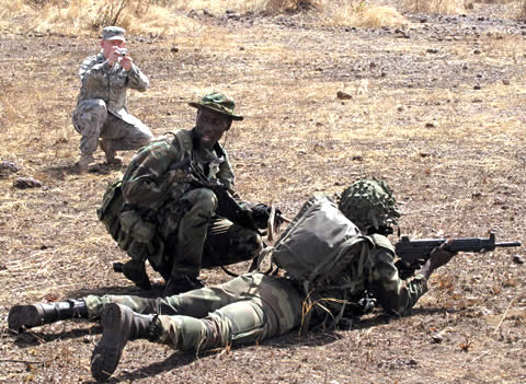 Malian soldiers undergoing counter-terrorism training from US forces