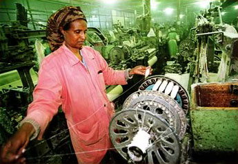Operating a spinning machine in Eritrea