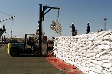 Unloading grain at the port of Dakar, Senegal