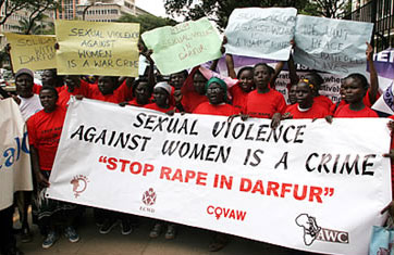 Kenyan women demonstrate against rape in Darfur, Sudan