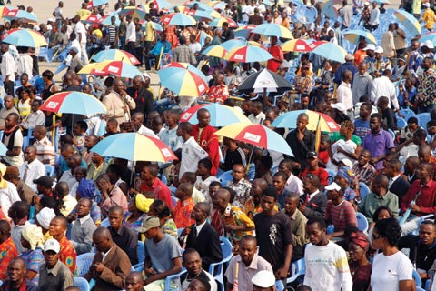 Part of a large crowd in Kinshasa, Democratic Republic of the Congo, this 30 June, celebrating the 50th anniversary of the country's independence.