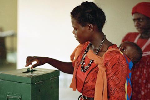 Voting in the November 1989 election to a constituent assembly in Namibia