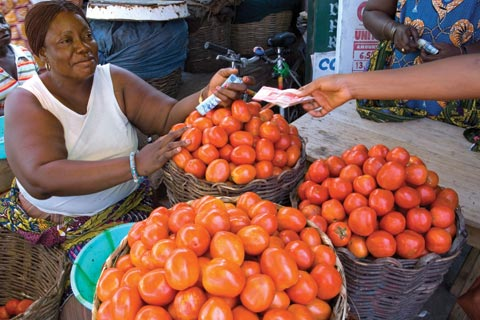 Selling tomatoes at a marketplace in Accra, Ghana