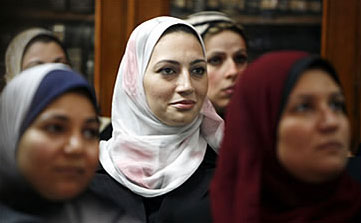 Eman el-Emam (centre) was one of about 30 women judges sworn onto the bench in April 2007 in Egypt