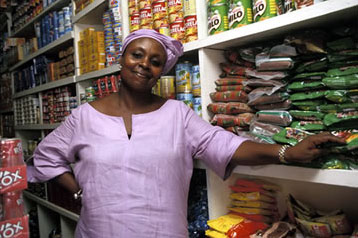 A small shop owner in Ghana