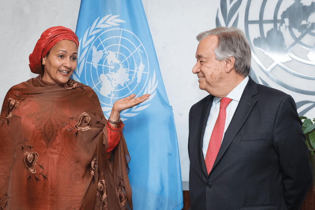 Secretary-General António Guterres and Deputy Secretary-General Amina J. Mohammed during a meeting in New York.