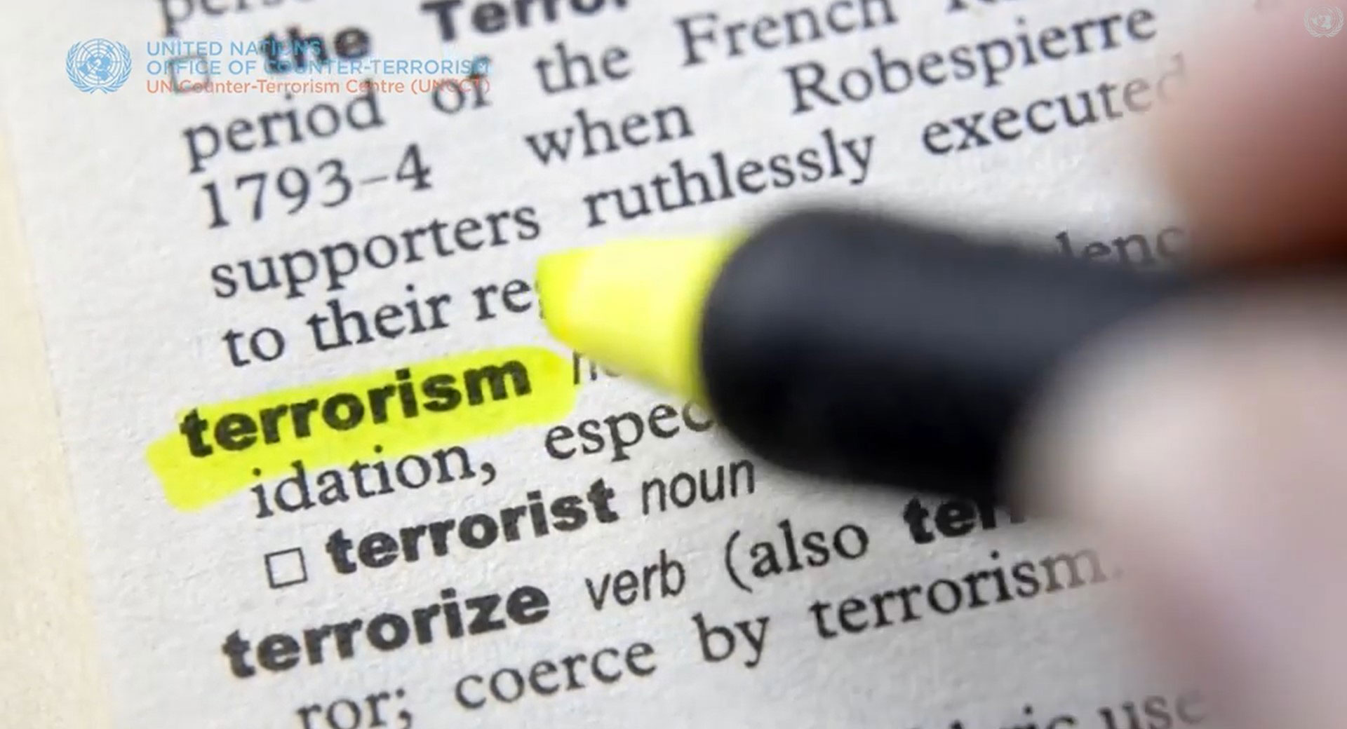 Highlighted word terrorism in a document
