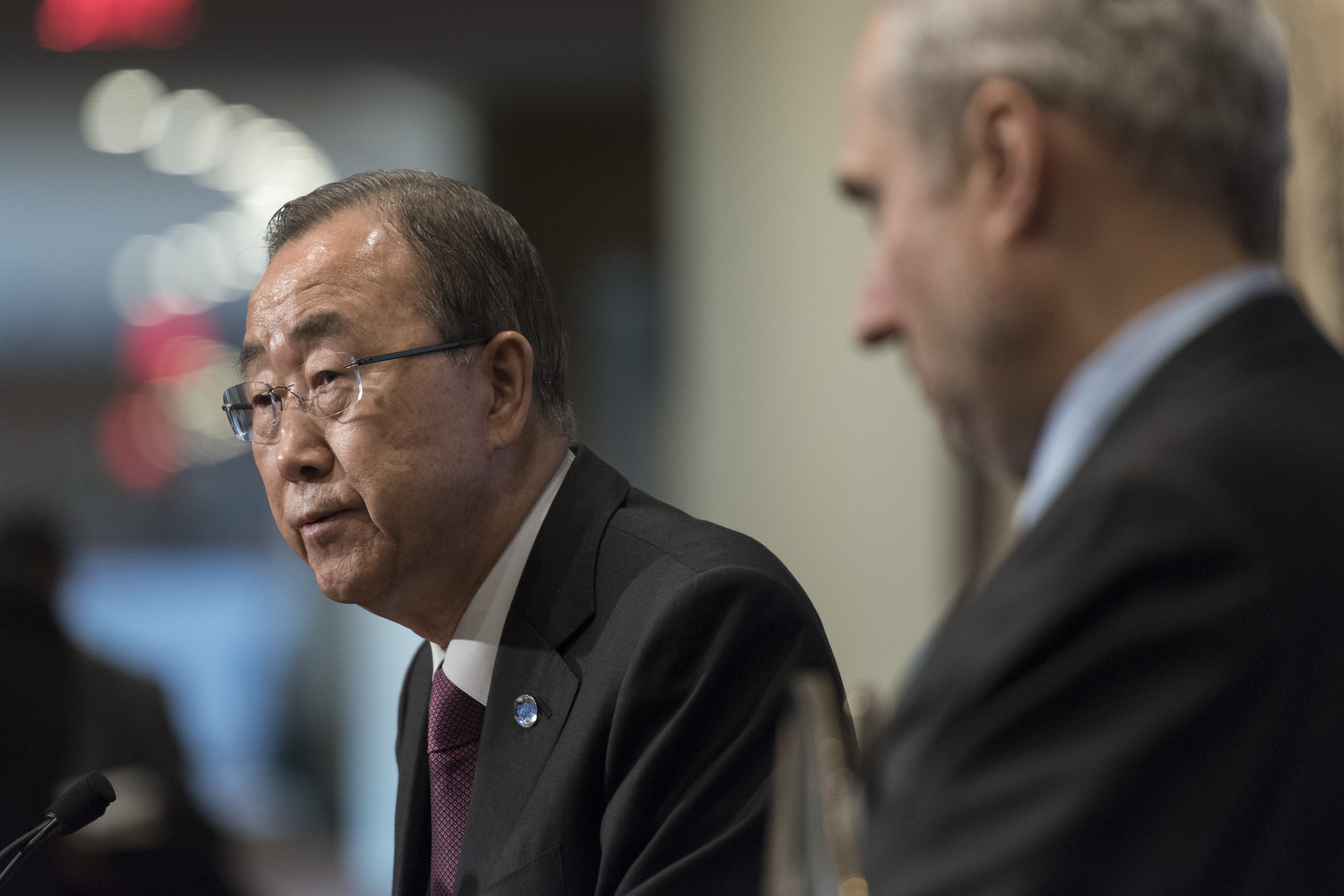 Former Secretary-General Ban Ki-moon Speaks to Press on COP21, Terrorism