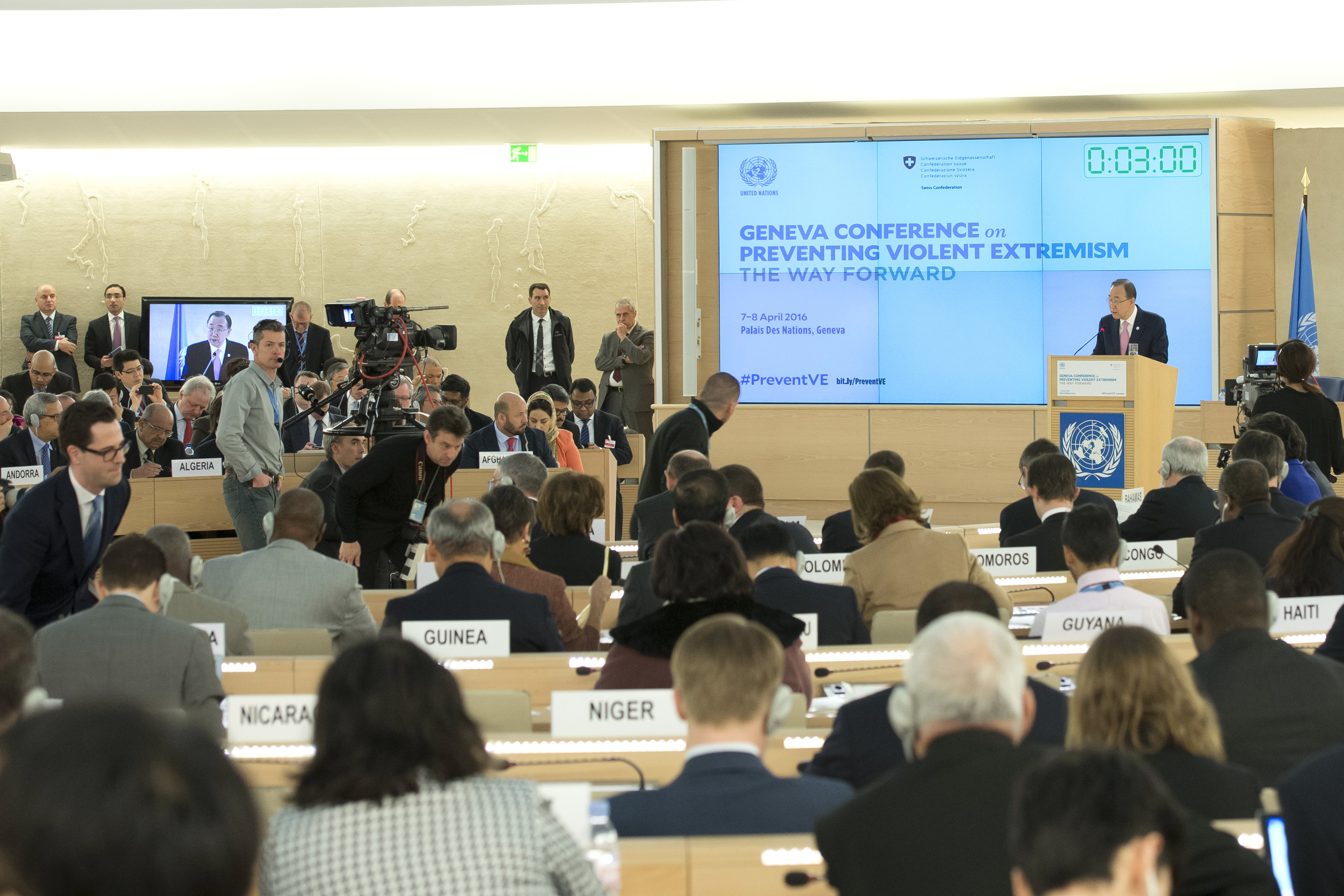 "Former Secretary-General Ban Ki-moon addresses the ""Geneva Conference on Preventing Violent Extremism – The Way Forward""."