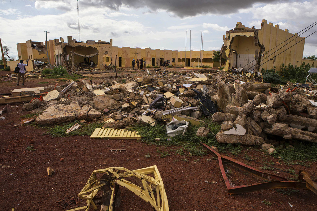 Destruction after attack against the G5 Sahel Joint Force headquarters in Mopti, Mali