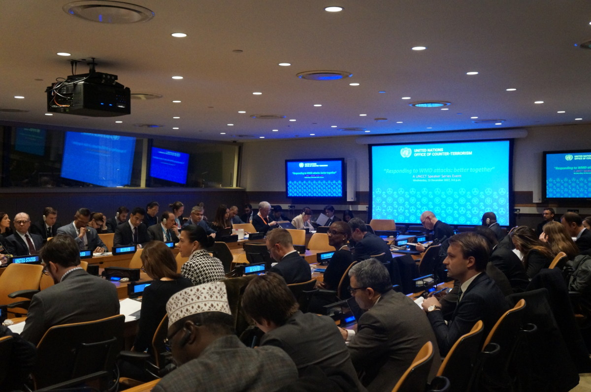 Conference room full of attendees to the side event: Responding to WMD attacks: better together