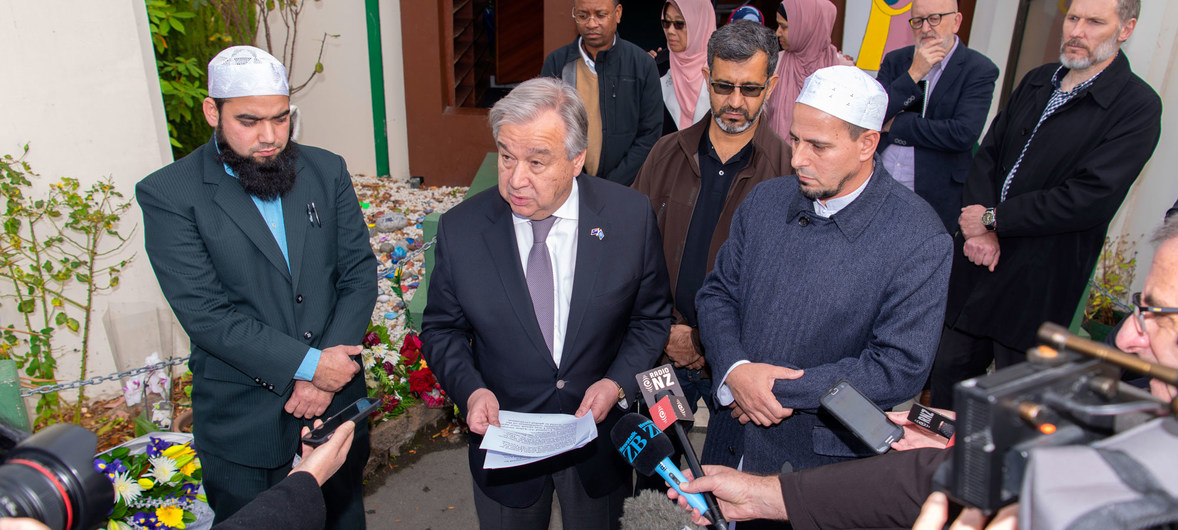 SG António Guterres speaks to the press after visiting Al Noor Mosque