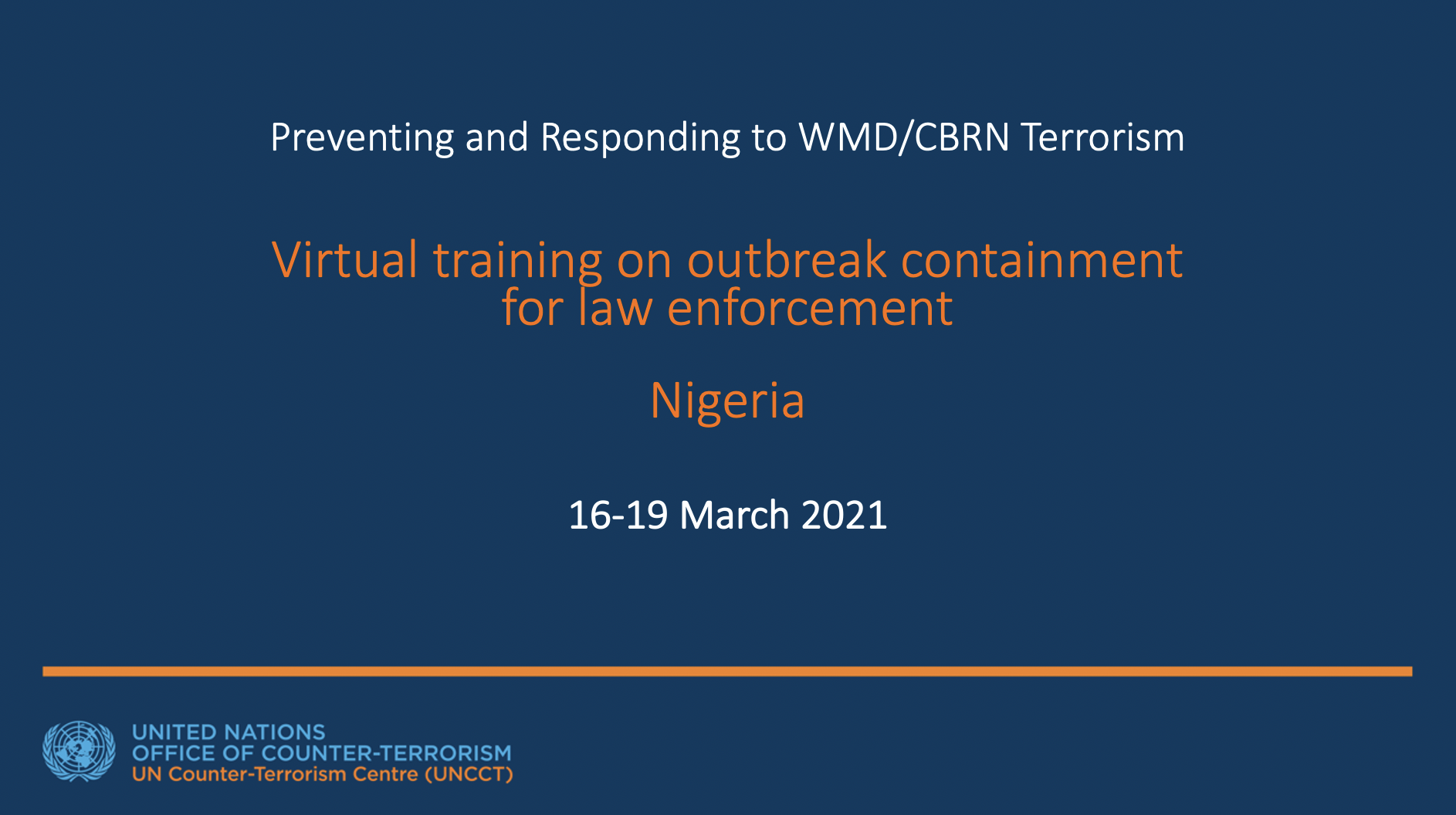 Graphic of Virtual Training on Outbreak Containment for Law Enforcement for Nigeria