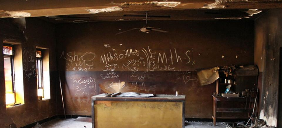 A destroyed classroom at Gerver Secondary School in Ninewa Governorate, Iraq