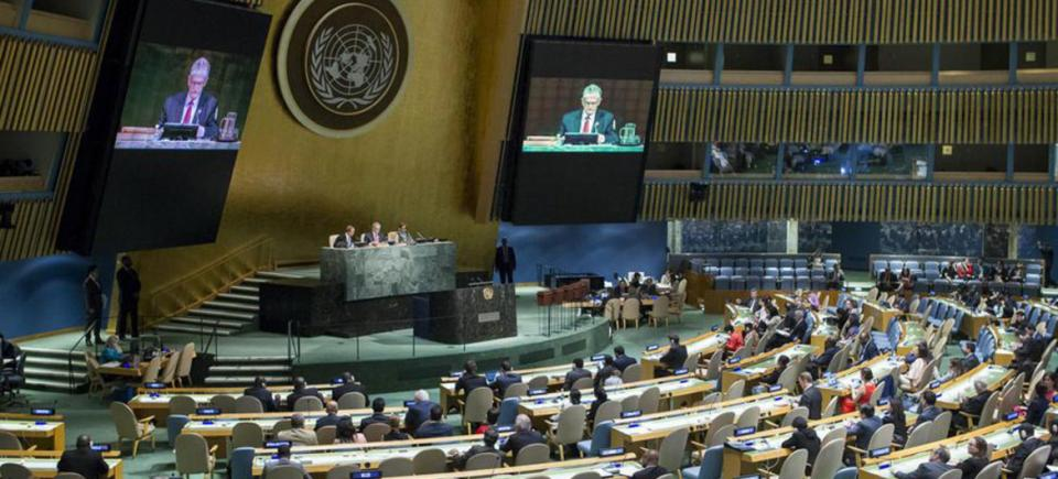 Wide view of the General Assembly during a meeting
