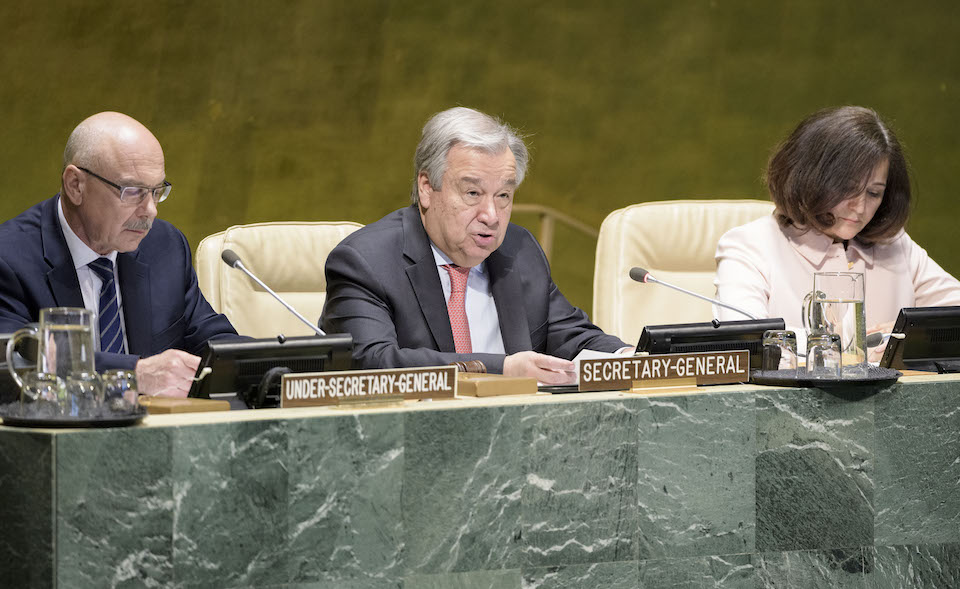 Secretary-General António Guterres makes remarks at the high-level launch event of the United Nations Countering Terrorist Travel Programme.