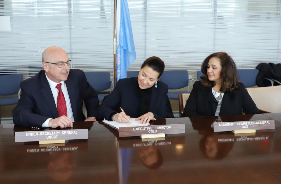 First meeting of the Steering Committee of the UN Countering Terrorist Travel Programme. USG UNOCT, ED CTED and ASG OICT endorsing the 5-year Programme Action Plan.