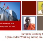 The Seventh Working Session of the Open-Ended Working Group on Ageing established by the General Assembly will be held on 12 -15 December 2016.