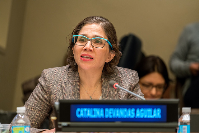 The Special Repporteur Catalina Devandas speaks at the High-level panel discussion on disability and poverty during the 55th session of CSocD