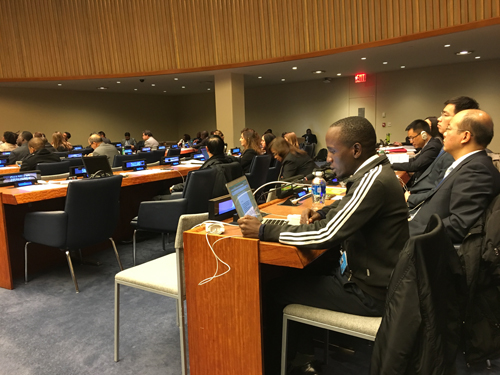 Image of Mark Mapemba of Inclusion International speaking to the Commission for Social Development