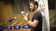 "UN Photo/Loey Felipe Nyle DiMarco, deaf activist, model and actor, addresses the 67th United Nations DPI/NGO Conference, held under the theme ""We the Peoples…Together Finding Global Solutions for Global Problems"". The conference runs from 22-23 August."