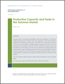 an analysis of the topic of the development economics and the solomon islands Of the solomon islands government, resource owners, ngos, community-based groups, academia, and the private sector, who gave freely of their time to contribute their views and knowledge through the consultation process.