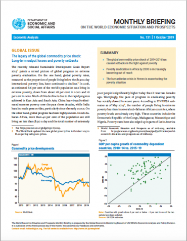Cover of World Economic Situation And Prospects: October 2019 Briefing, No. 131
