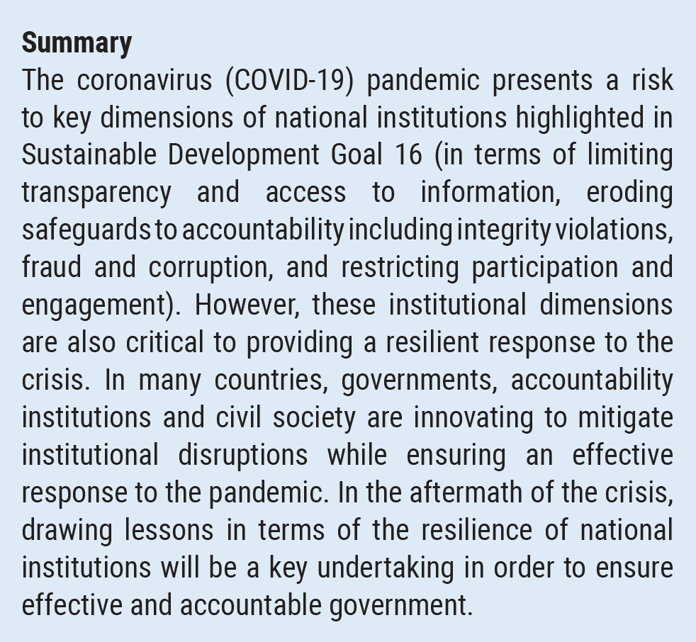 Resilient Institutions In Times Of Crisis Transparency Accountability And Participation At The National Level Key To Effective Response To Covid 19 Department Of Economic And Social Affairs