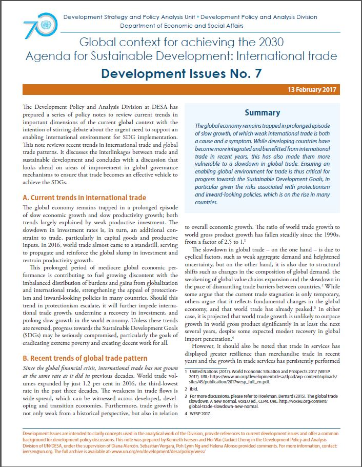 Development Issues No 7 Global Context For Achieving The 2030