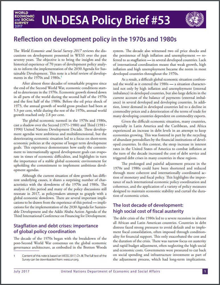 Undesa policy brief development policy analysis division policy brief 53 reflection on development policy in the 1970s and 1980s pronofoot35fo Images