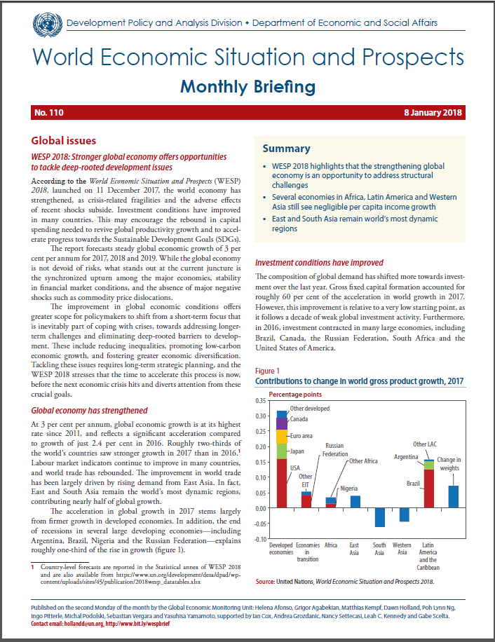 world economic situation Addis ababa, 17 january 2018 (eca) - the 2018 edition of the world economic situation and prospects report (wesp2018) was.