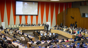 Bill Clinton, Founder of the Clinton Foundation and former President of the United States, delivers the keynote address at the 2015 ECOSOC Partnerships Forum on the theme